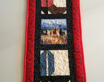 Quilted Western Wall Hanging, Cowgirl Boots, Horses, Red White and Blue