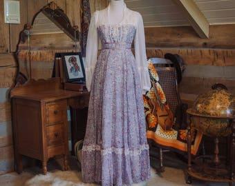 Vintage Gunne Sax dress -  1970's floral Gunne Sax maxi dress