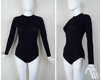 Vintage Womens Long Sleeve Black Crew Neck Leotard Bodysuit with Back Zipper | Size XS/S