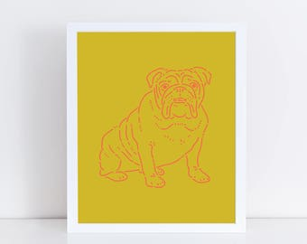 "English Bulldog 8""x10"" Dog Print 