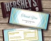 Baby Blue Candy Bar Label   Hershey Chocolate Wrappers   Editable   Printable   Instant Download