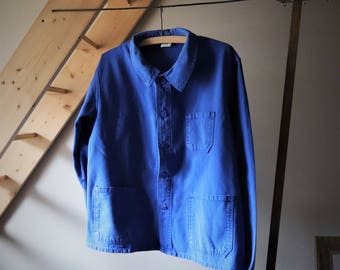 VINTAGE raw Blue work jacket, overalls, work clothes, Made in France, authentic garment industry Dungarees
