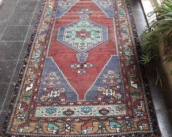 """Turkish Rug, Vintage Rug, Oushak Rug, Low Pile Turkish Rug, Vintage Oushak Rug, Aztec Rug, Persian Rug,Rugsworldd 4'1""""×8'2"""" ft"""