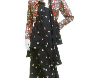 Ossie Clark Moss Crepe Dress and Jacket Set. 1970's.