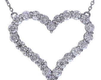 "1.90 Carat Round Cut Diamond Heart 16"" Necklace 14K White Gold"