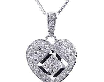 0.75 Carat Round & Princess Cut Diamond Heart Pendant on Box Link Chain 14K White Gold