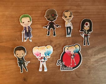 Suicide squad die cuts. Perfect for decorating a planner, journal, travelers notebook, or scrapbook page. Can be laminated.