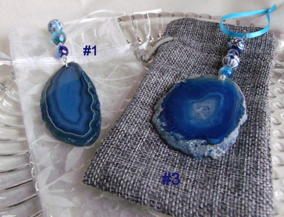 Hanukkah agate window ornaments - gem holiday gift - teal blue stone- hanging home decor - bat - bat mitzvah favors - large geode slice
