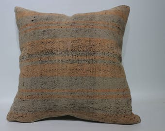 20x20 Decorative Kilim Pillow Sofa Pillow Floor Pillow 20x20 Striped Kilim Pillow Naturel Kilim Pillow Home Cushion Cover SP5050-2287