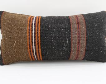 Lumbar Kilim Pillow 10x20 Brown and Black Striped kilim pillow Turkish Floor Pillow boho pillow Antique pillow Home Decor SP2550-1527