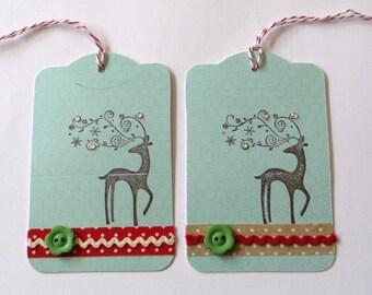 2 elegant Handmade Christmas Gift Tag pack , Deer Christmas Tag, xmas tag, gift tag, swing tag