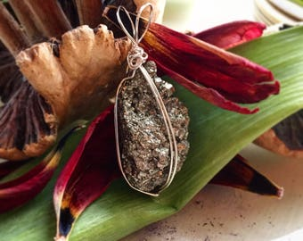 Pyrite Simple Wire Wrapped Pendant