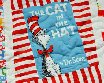 """How FUN! Featuring all of your Favorite Dr. Seuss Characters,  Wonky Bright Silly Quilt, ~43"""" x 50.5"""", Shannon Minky Backing, Super Fun!"""