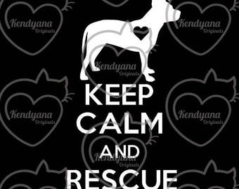 Keep Calm and Rescue vinyl decal- car decal- with pit bull, retriever, lab, shepherd, or cat/dog