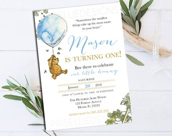 Classic Winnie the Pooh Birthday Invitation, Winnie the Pooh Birthday Invitation, Boy Girl Winnie the Pooh Birthday Invitation Party