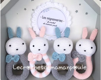 1hochet lapinette/Bunny or cat/kitten with Bell 100% customizable (color message me)