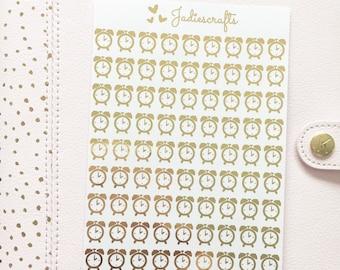 Foil Alarm Clock Stickers | Planner Stickers