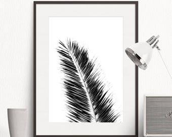 Palm Tree Leaf Print, Black White, Botanical Wall Art, Tropical Printable Art, Scandinavian Poster, Watercolor Painting, Digital Download