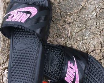 Black and Pink Nike Slides