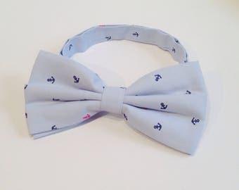 Pajarita marinera azul cielo con anclas azul marino y alguna detalle en rojo, regalo para hombre, corbata pre-ajustada, accesorios  handmade