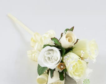 Artificial Wedding Flowers, White, Gold & Ivory Rose Flower Girl Wand