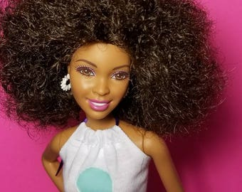Afro doll with handmade outfit