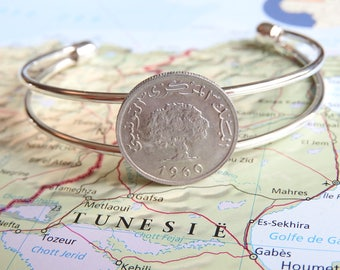 Tunisia metal coin cuff bracelet - made of original coins - tree - tree of life - wanderlust gift - travel