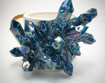 MADE-TO-ORDER: Aura Apatite, Matte White and Gold Handled Mug