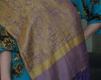 Lavender Purple  Gold Hijab  Scarf Veil