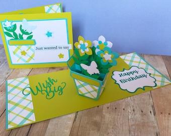 Pop Up Card! Flower Pop Up Card! 3-D Card w/ Flower Pot! Pop Up Card w/ Flowers!Bouquet of Flowers!Birthday Pop Up Card! Folds Flat