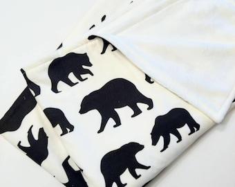 Black Bear Baby Blanket - Woodland Nursery Decor - Monochrome Baby Blanket - Black and White Blanket