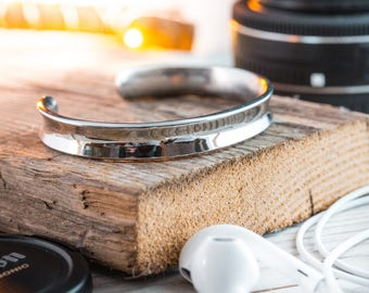 Stainless steel cuff bangle men's bracelet, mens bracelet, steel bracelet, steel bangle bracelet, casual bracelet, c bracelet