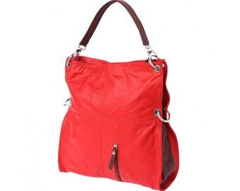 Italian handmade Soft leather Hobo shoulder bag in Red & Brown 3019