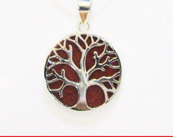 Coral Pendant Necklace, Tree-Of- Life Pendant, Sterling Silver Pendant, Unique Coral Pendant, Red Silver Necklace, Double Sides Pendant, Red