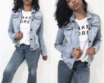 Wash and very  Distressed Denim Jacket By HCO Size Large Hand Made Blue Jean