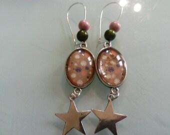 earring dangle multicolored Japanese pattern