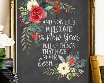 New Year 2018, new year printable, 2018 printable, Happy New Year Printable, Happy new year print, 2018 printable, New Year Printable art