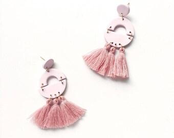 The Greta Earring // Half circle arch triple tassel polymer clay earring, statement earring, dangly tassel earrings