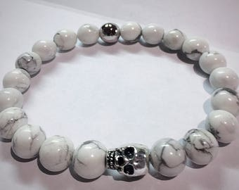 White Howlite Beads and Pewter Skull Bracelet, Valentines Day Gift, White Jewelry, mens bracelet, womens jewelry, buffalo turquoise, Wedding