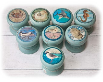 40 mm Replacement drawer door knobs pulls  Painted decoupage nautical beach sea themes with gulls shells fish and a seahorse