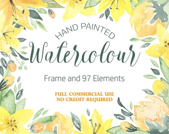 Yellow Flowers Watercolour Flower Clipart, Summer Floral Clipart, Yellow Floral Clipart, Yellow Flower Clipart, Floral Frame Clipart, Lilly
