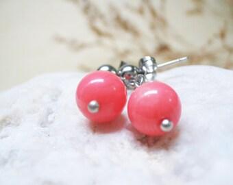 Pink Coral Earrings Gemstone Earrings Pink Coral Jewelry Dangle Earings Stud Earrings Charm Earrings Coral Earrings