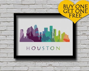 Cross Stitch Pattern Houston Texas Silhouette Watercolor Painting Effect Decor Embroidery Modern Ornament Usa City Skyline Xstitch