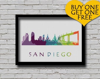 Cross Stitch Pattern San Diego California City Silhouette Watercolor Effect Decor Embroidery Modern Ornament USA City Skyline Xstitch