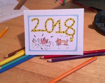 Year of the Dog 2018 New Year's Card