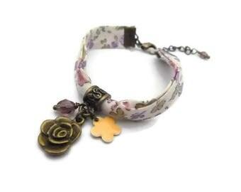 Bracelet biais liberty fleuri bronze