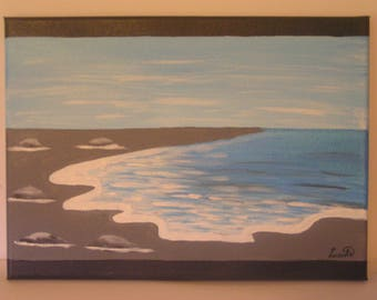 """Acrylic painting """"Quiet sea on gray sand"""" on canvas frame"""