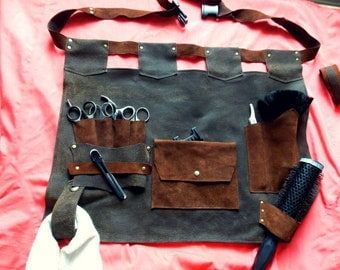 Free shipping+ gift/Leather barber apron,hairdresser's apron,barber gift,professional salon,haircut,gift to the hairdresser