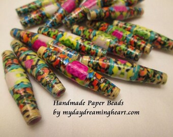 16 Handmade Paper Beads Loose Floral Marquise Pink Blue Green Gloss Finish Jewelry Craft Supplies Made In America Maine My Daydreaming Heart