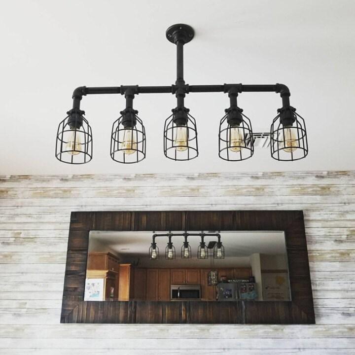 Items Similar To Galvanized Light Rustic Industrial: Rustic Industrial Lighting Chandelier GALVANIZED Pipe Light